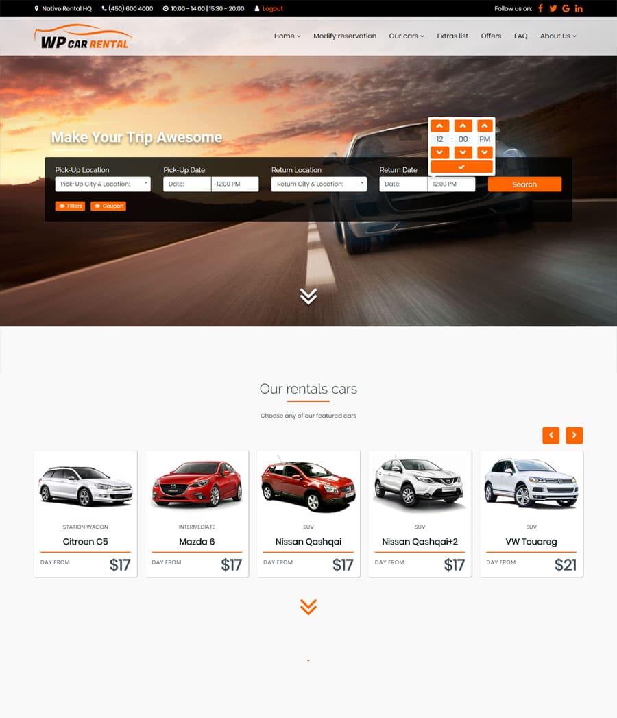Car Rental Wordpress Theme